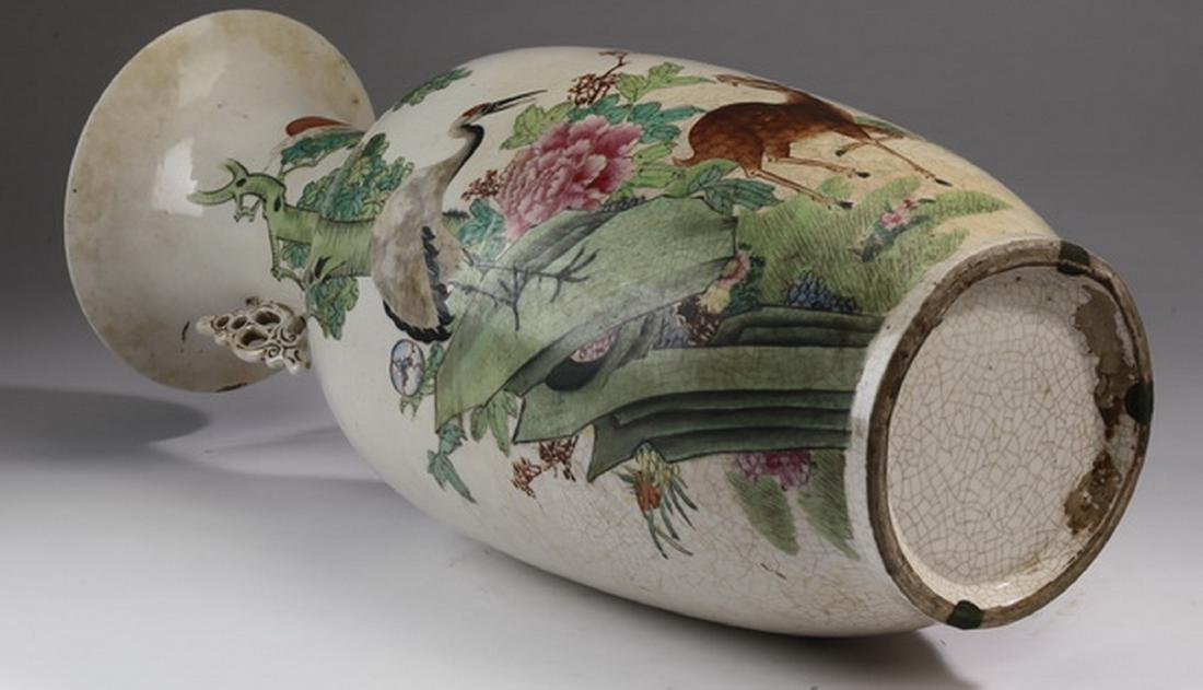 "Chinese crane and deer bottle vase, 22""h - 6"