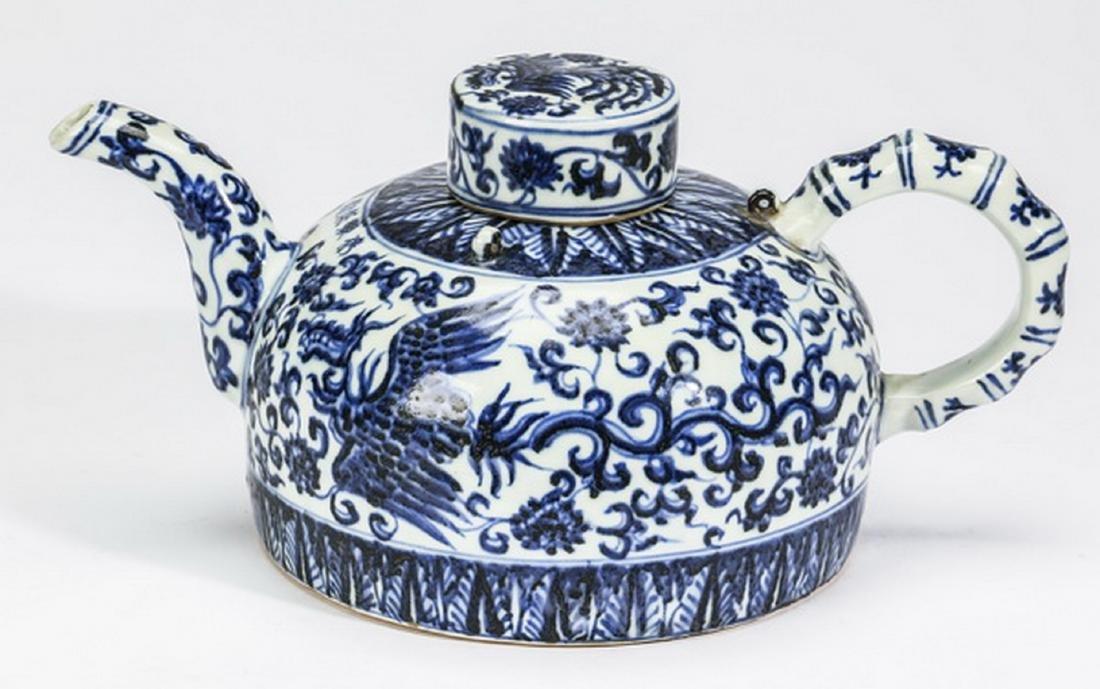 "Chinese half moon phoenix teapot, 12""l"