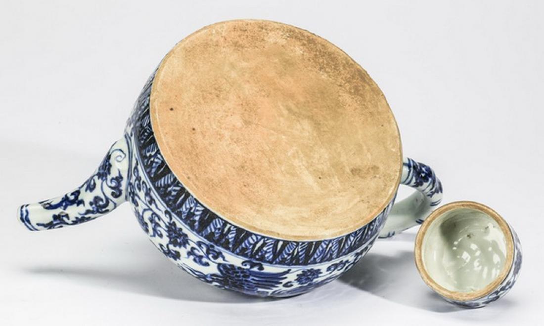 "Chinese half moon phoenix teapot, 12""l - 7"