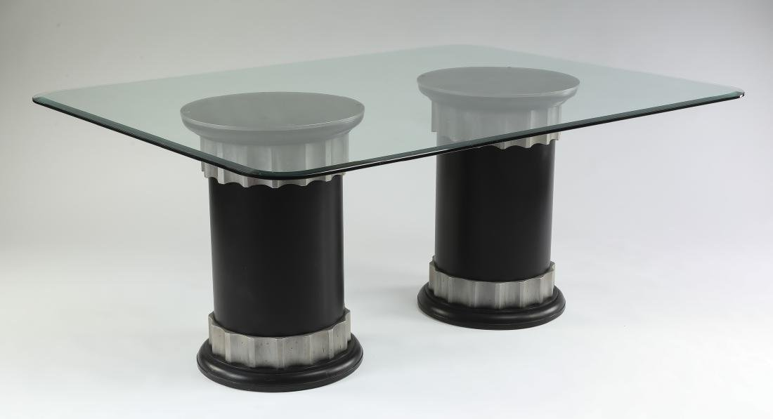 "Contemporary glass top pedestal table, 70""w"