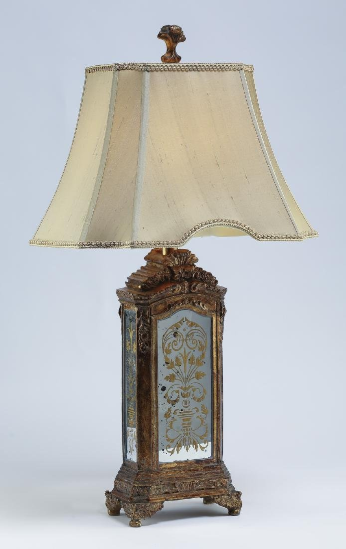 """Eglomise style table lamp w/ silk shade, 32""""h"""