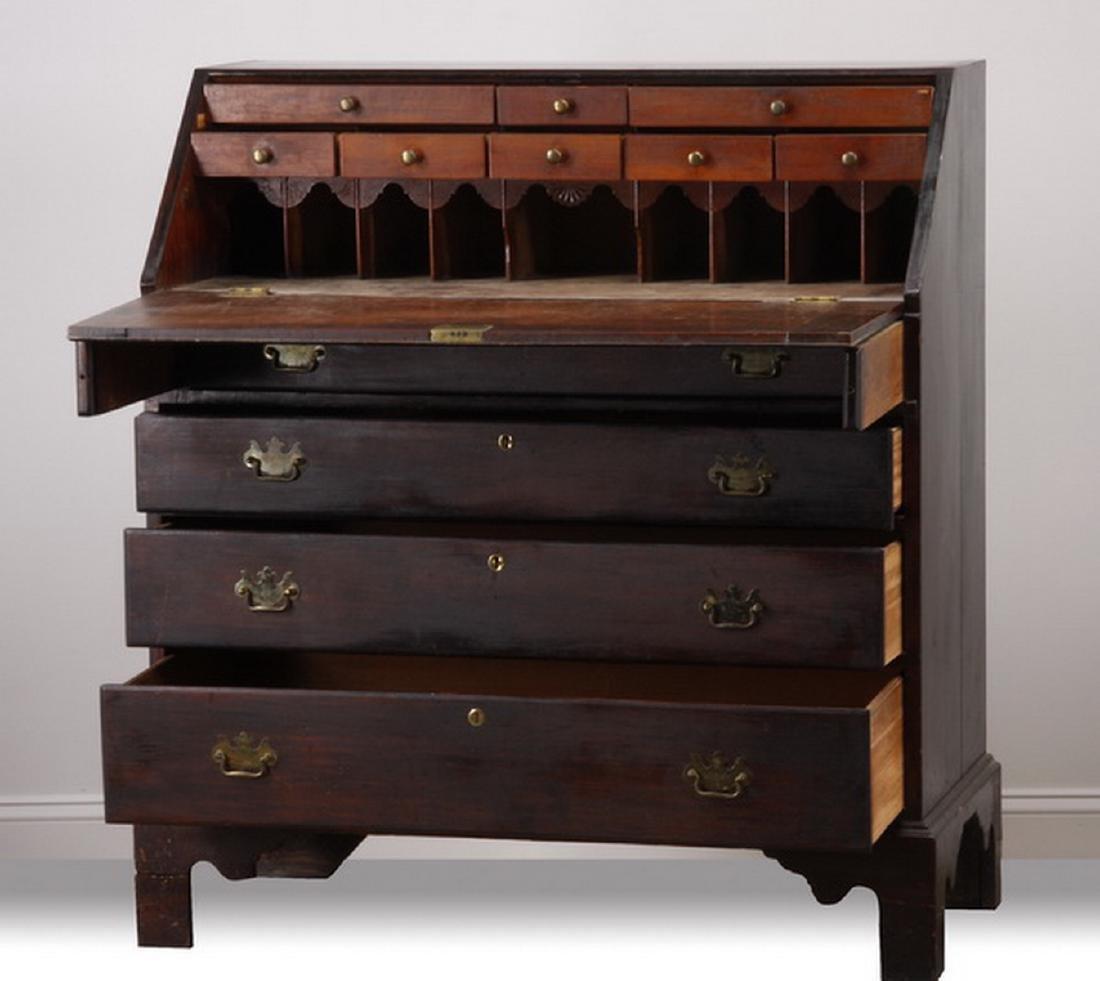 19th c. Georgian mahogany slant front desk