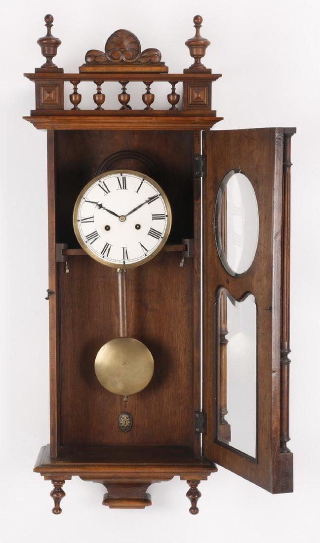 "19th c. walnut regulator clock, 37""h - 2"