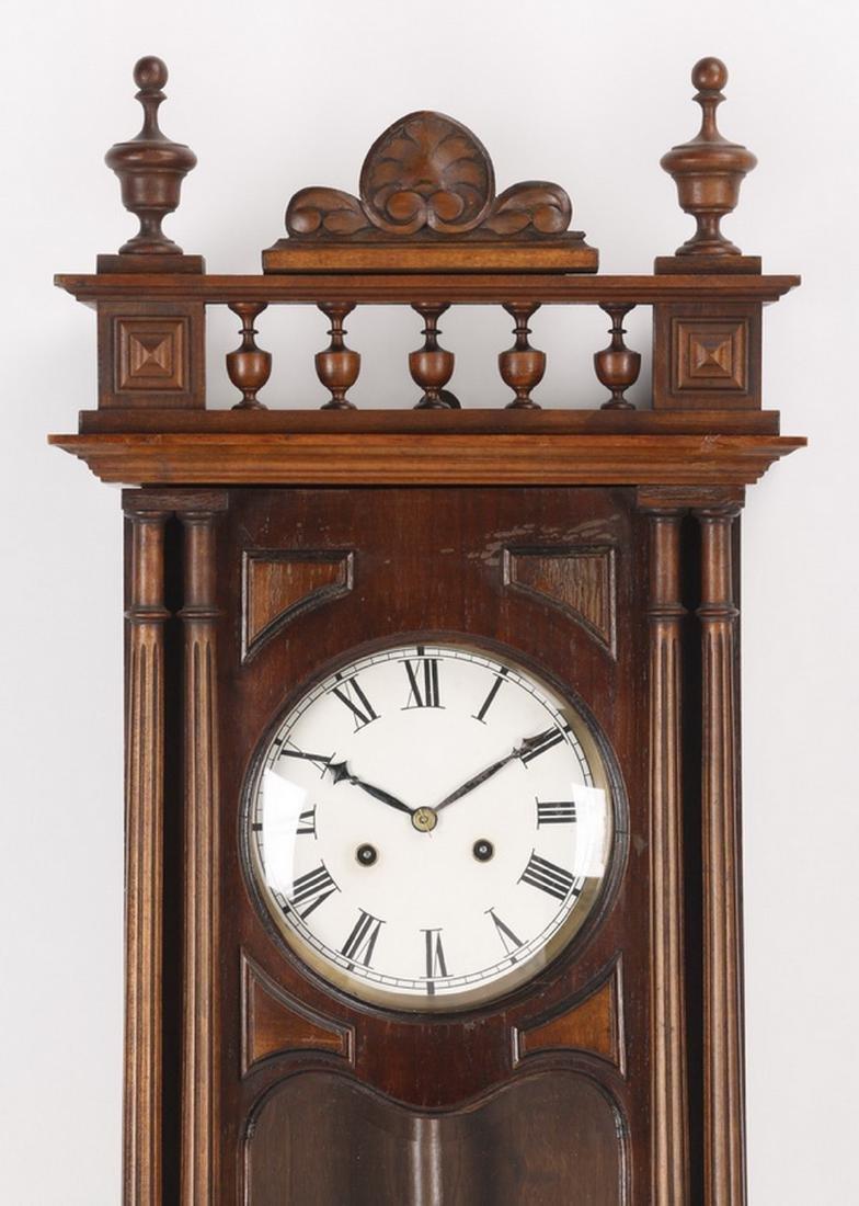 "19th c. walnut regulator clock, 37""h - 3"