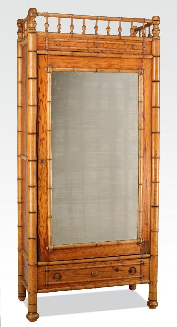 Early 20th c. English pine & faux bamboo armoire