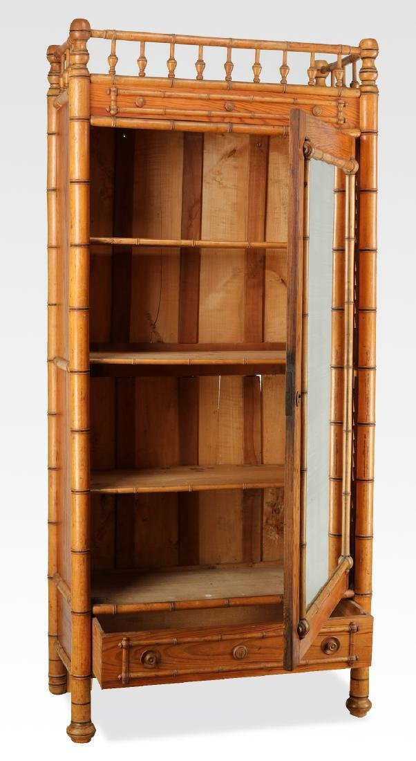 Early 20th c. English pine & faux bamboo armoire - 2