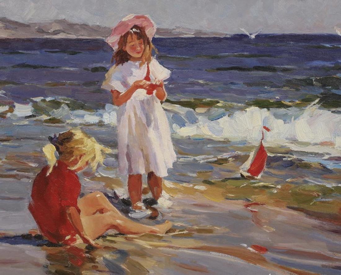 20th c. O/c of two girls playing along the seashore - 2