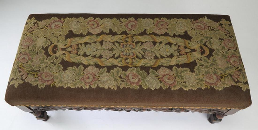 19th c. carved bench upholstered in needlepoint - 2