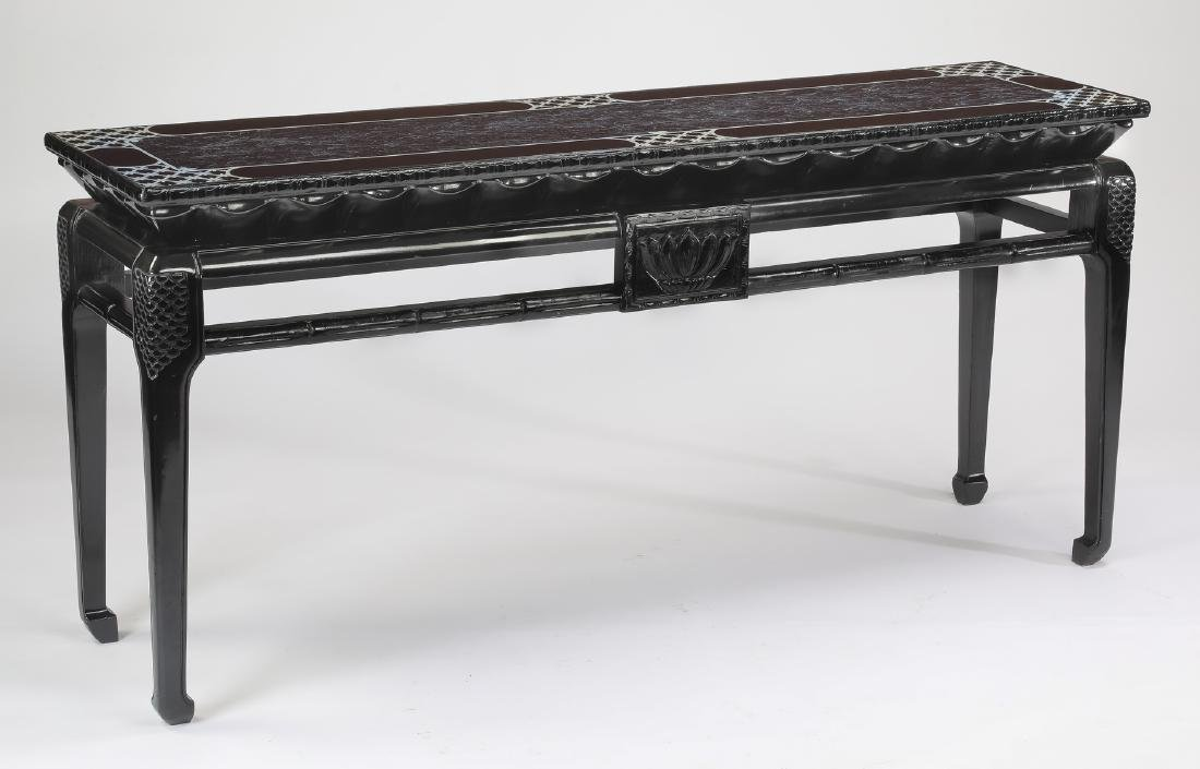 """Chinoiserie style ebonized console table, 63""""w"""