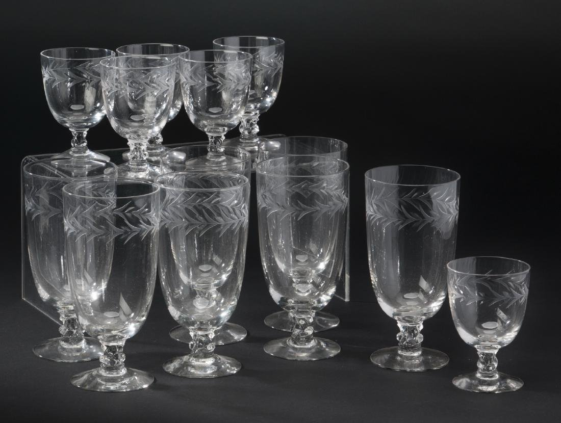 13-Pieces Fostoria crystal stemware, Holly pattern