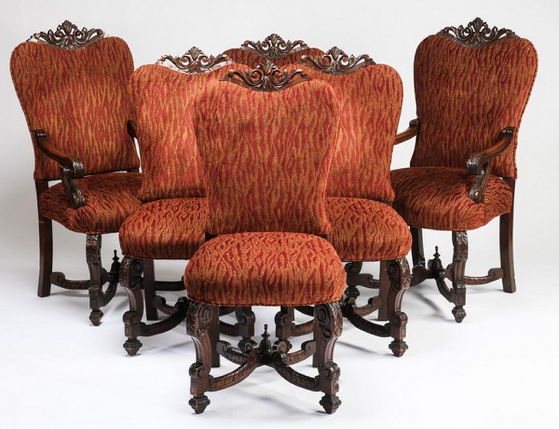 "(6) William & Mary style carved chairs, 47""h"