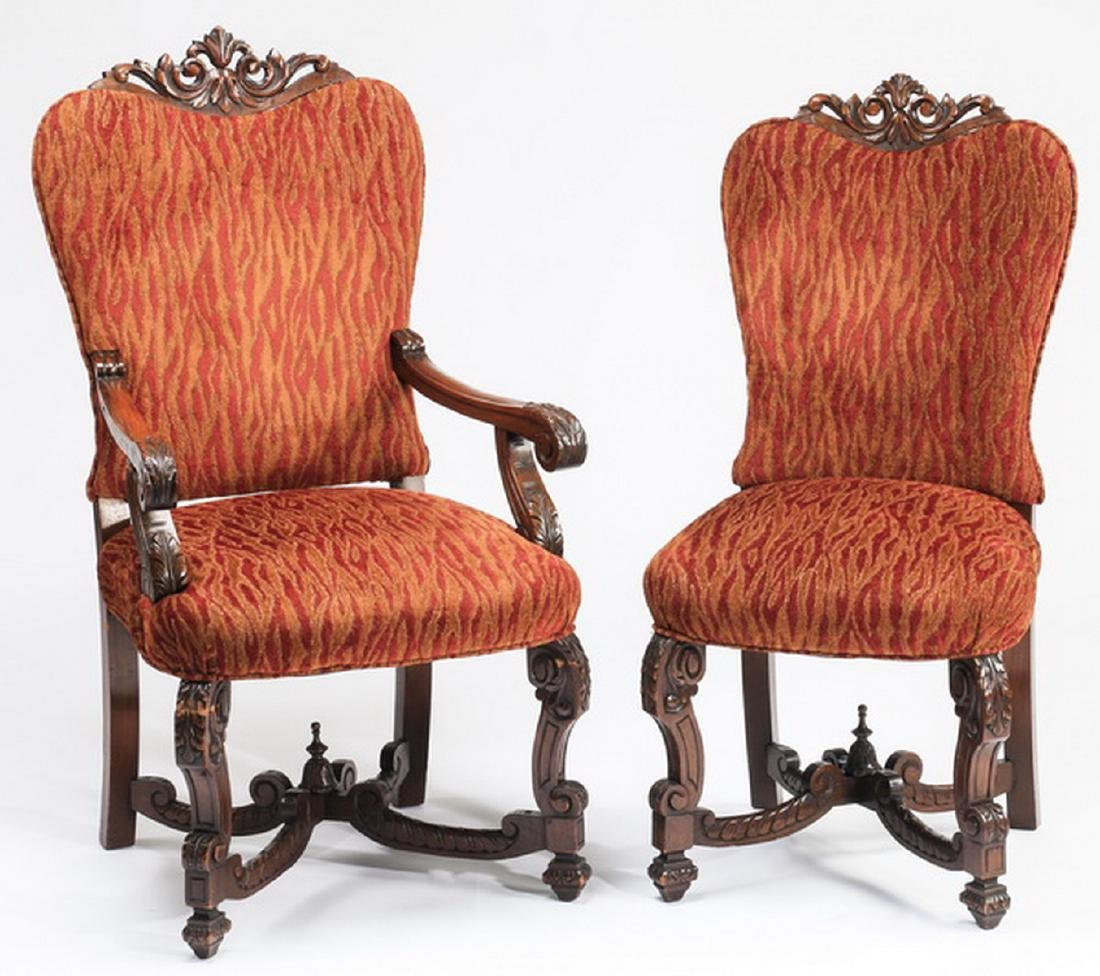 "(6) William & Mary style carved chairs, 47""h - 2"