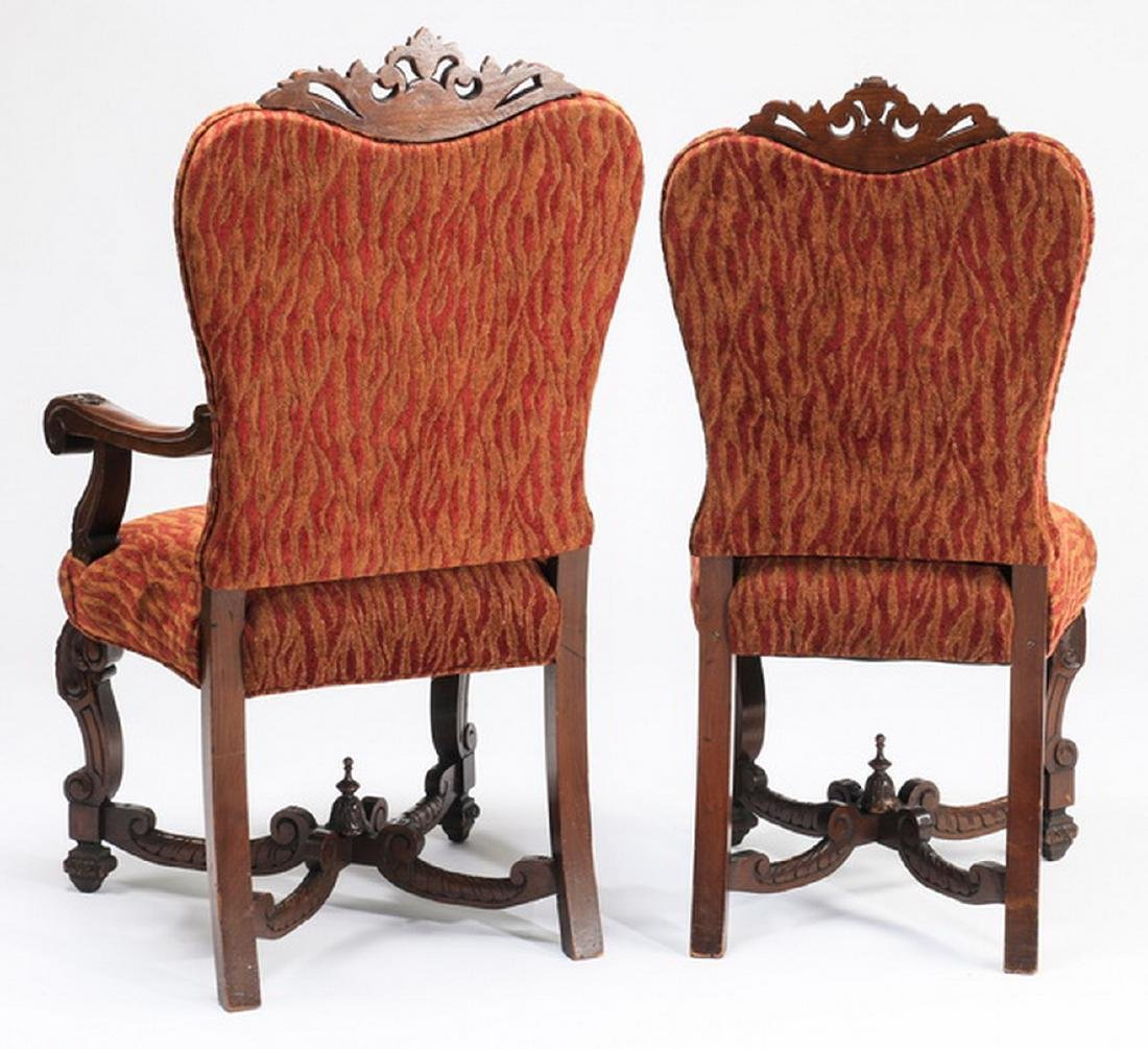 "(6) William & Mary style carved chairs, 47""h - 3"