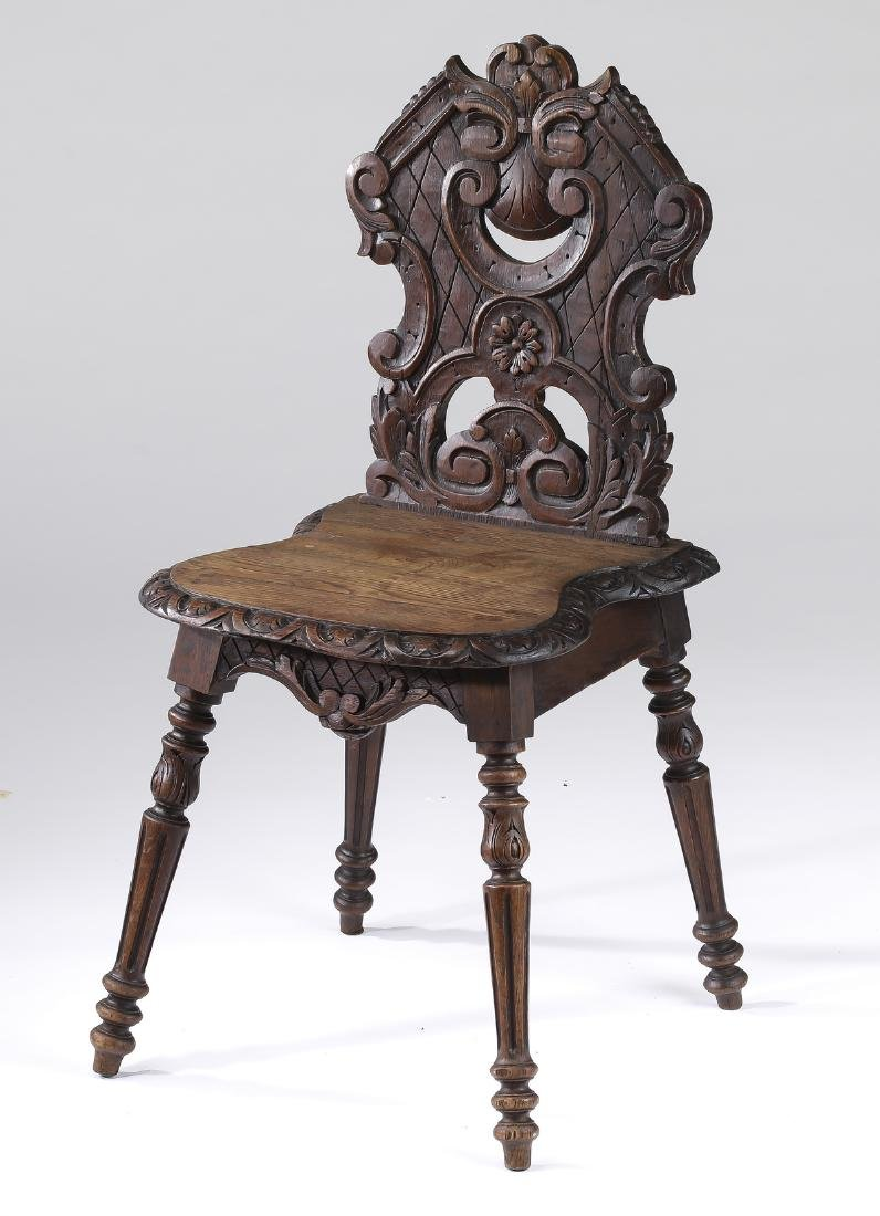 19th c. petite French carved oak hall chair