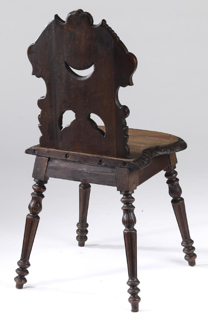 19th c. petite French carved oak hall chair - 2