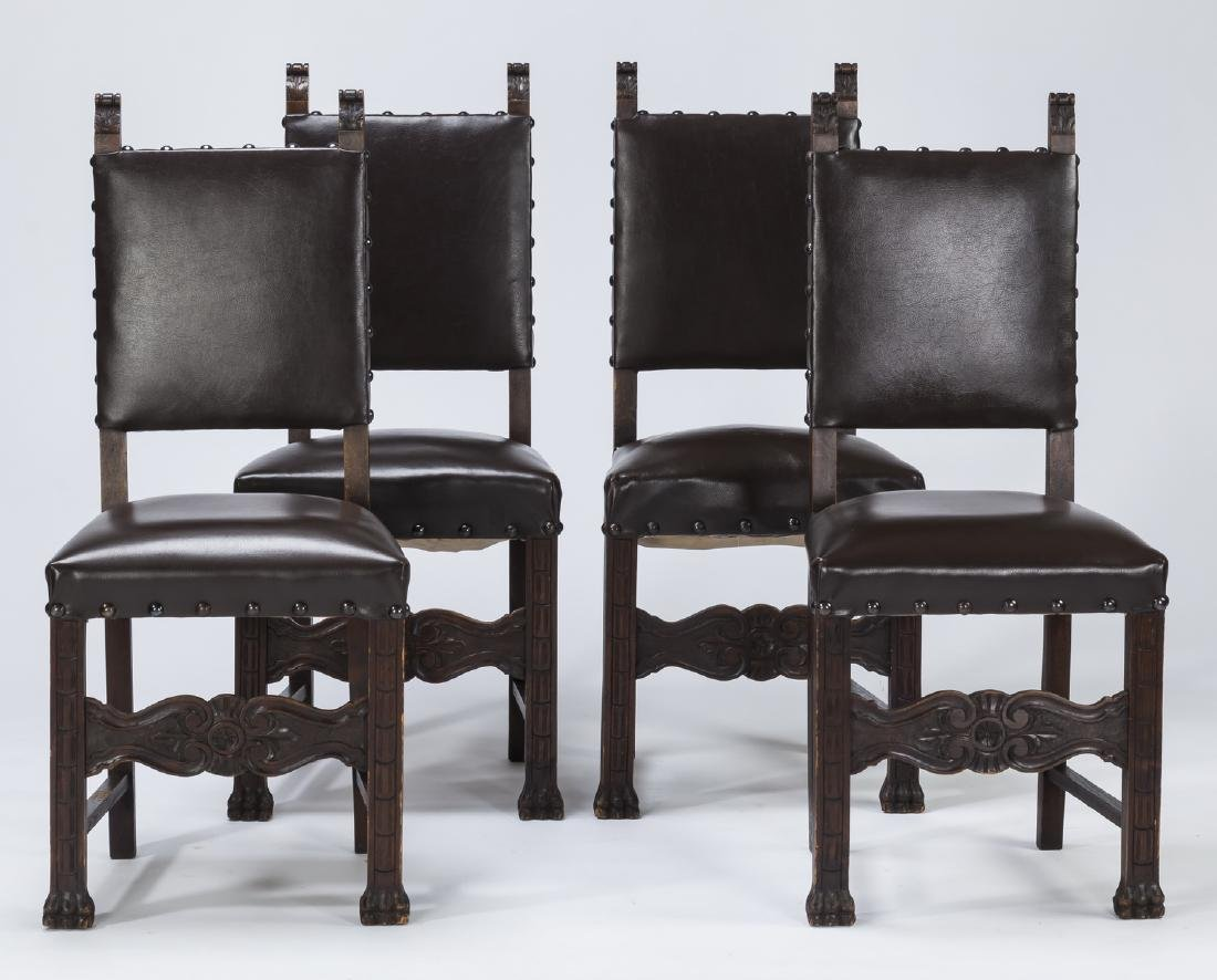 (4) 19th c. Jacobean Revival style chairs in leather