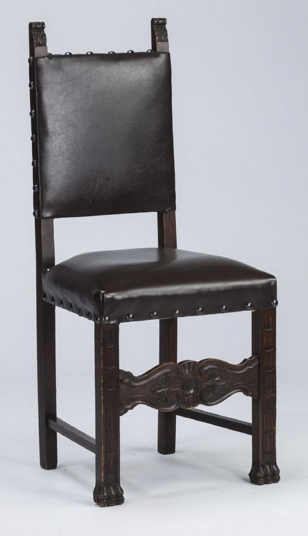 (4) 19th c. Jacobean Revival style chairs in leather - 2