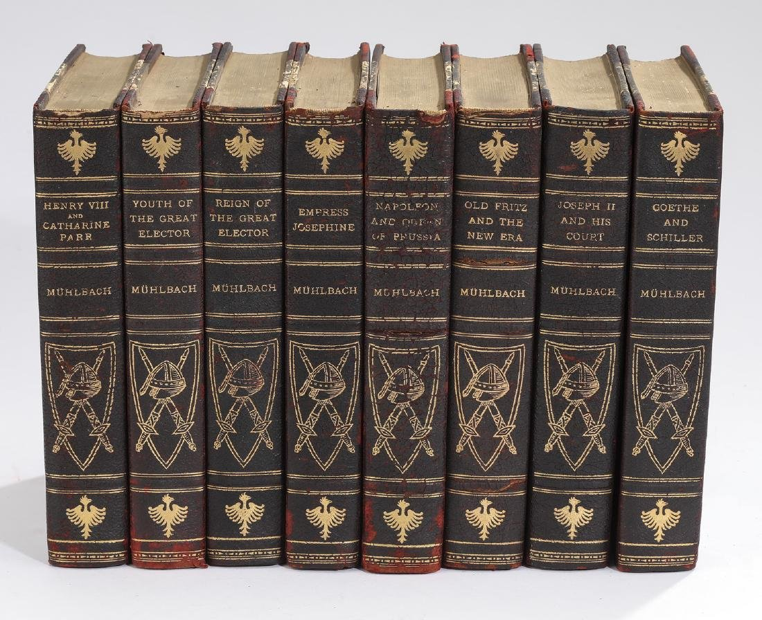 (8) Leather bound novels by Muhlback & brass rack - 3