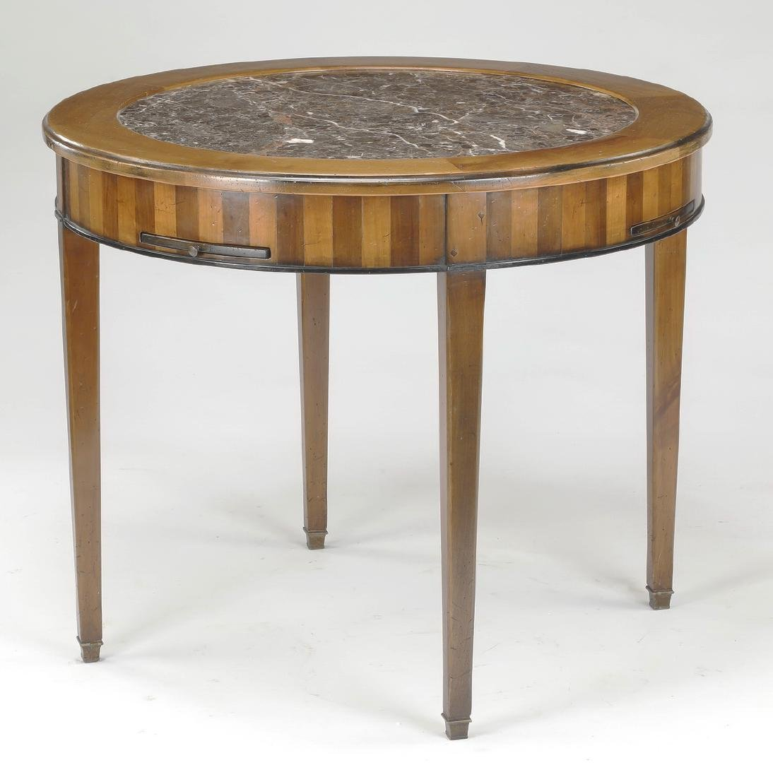 19th c. French walnut marble top games table