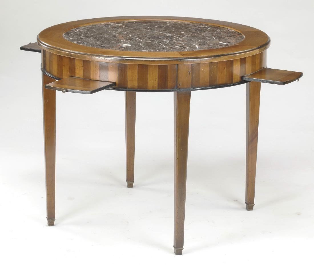 19th c. French walnut marble top games table - 2