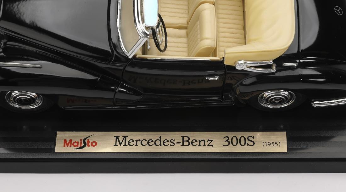 """Maisto 1955 black Mercedes-Benz 300S on stand, 4""""h - 3"""