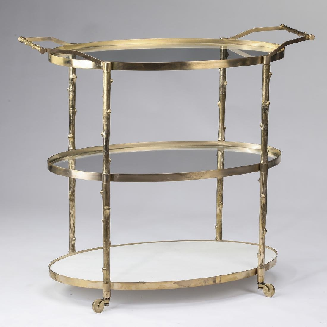 "Three tier brass, glass, and marble bar cart, 42""w"