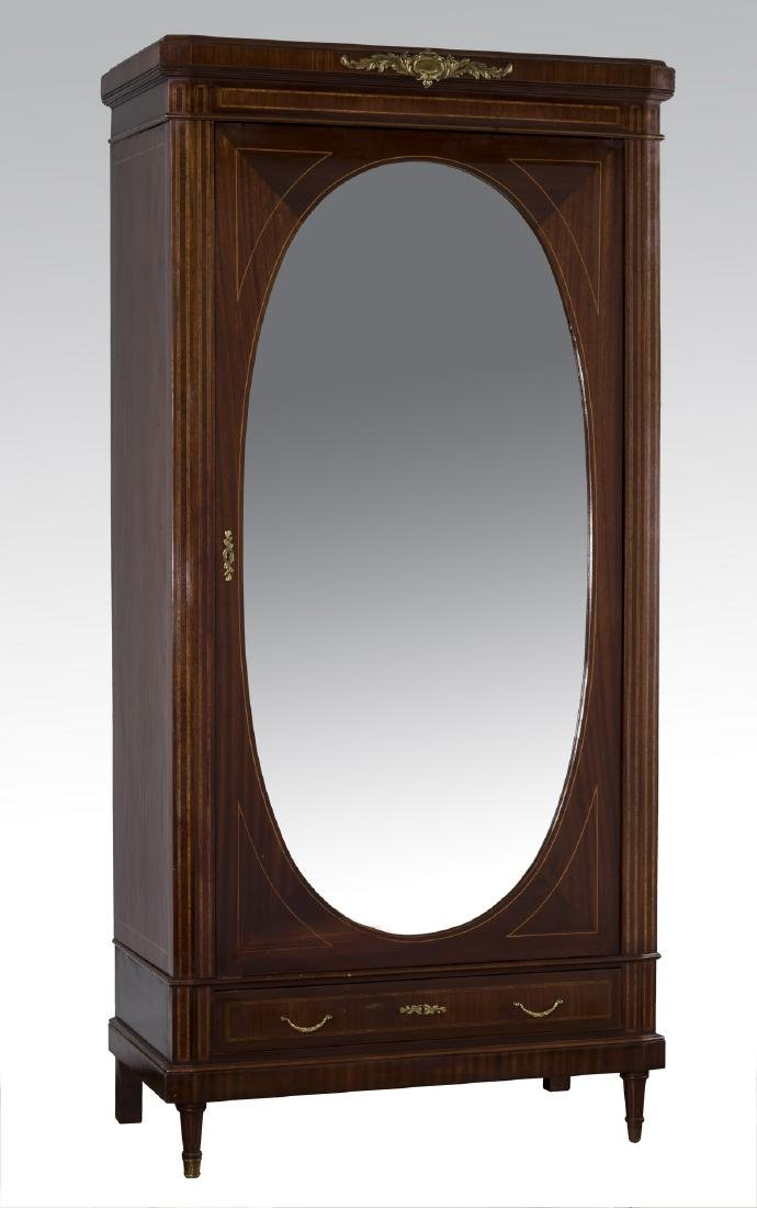 Early 20th c. French beveled mirror armoire
