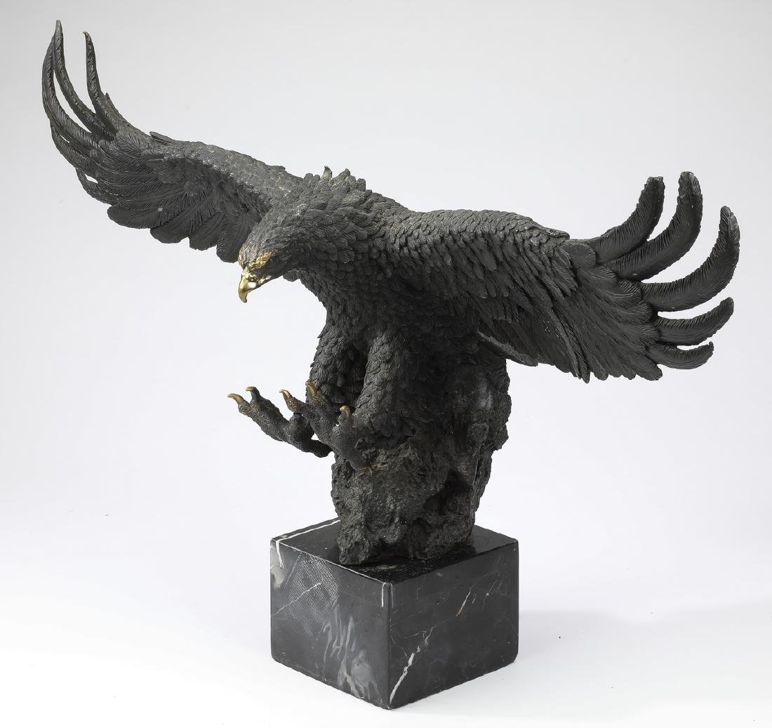 Patinated bronze sculpture of an eagle