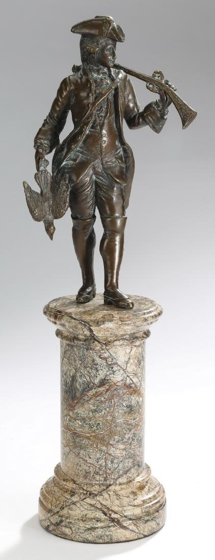 'Bird Hunting' patinated metal & marble sculpture