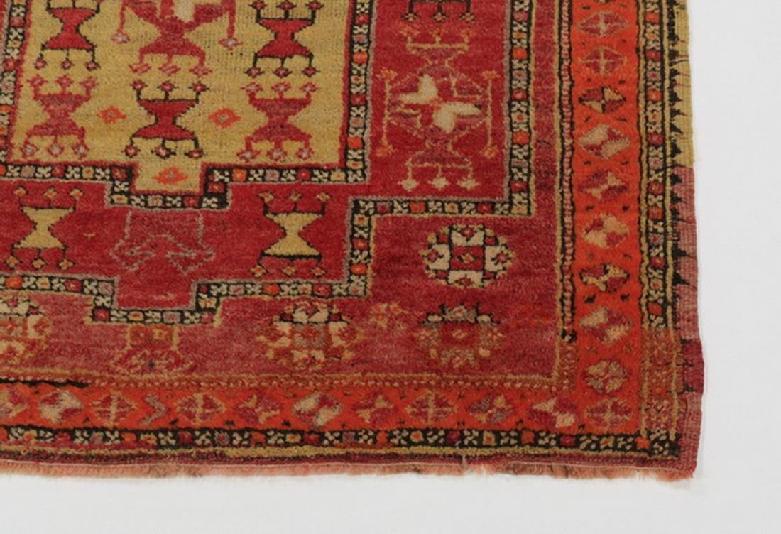 Antique Turkish double mirhab prayer rug, 5 x 4 - 3