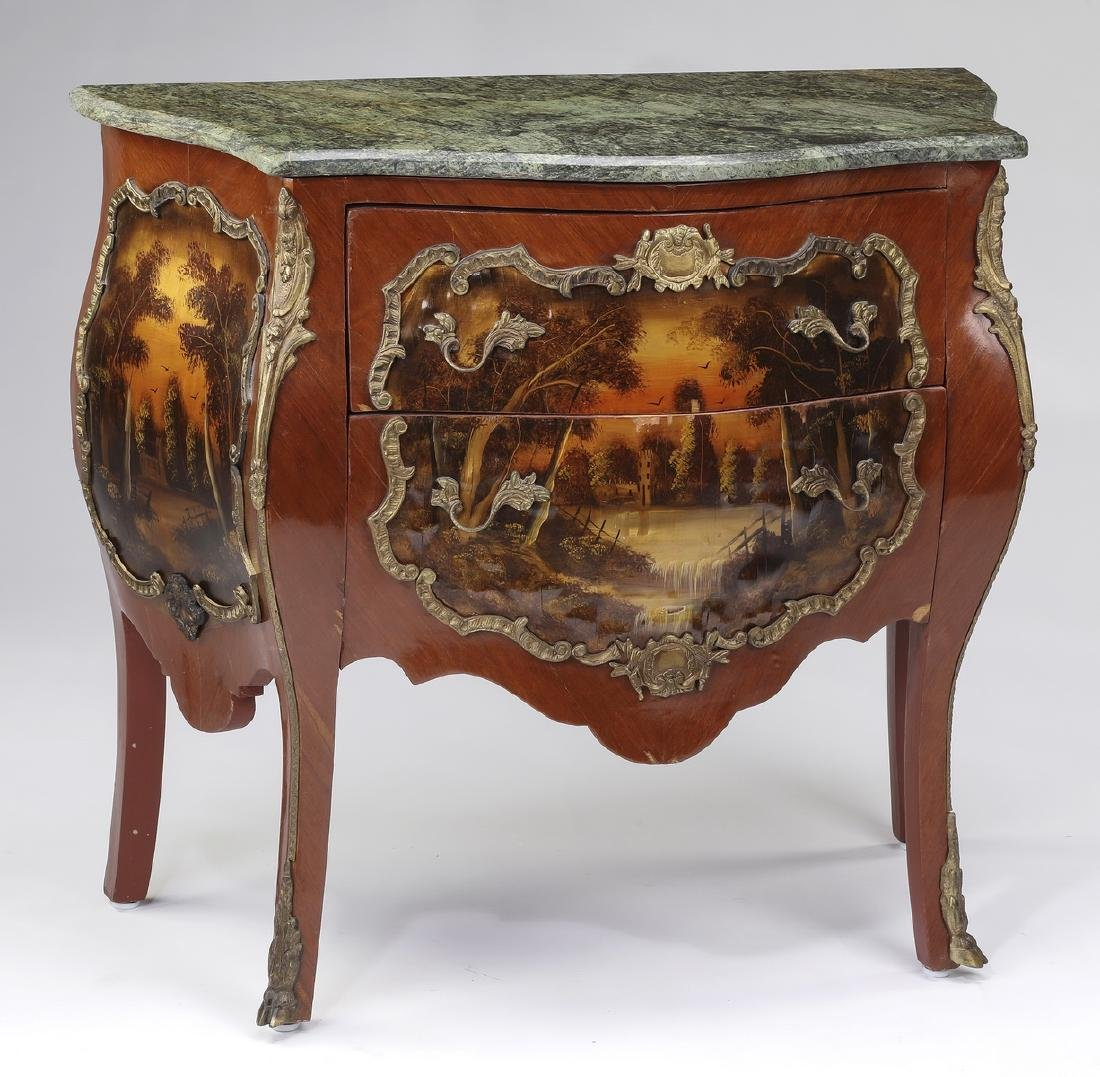 Vernis Martin style marble top commode