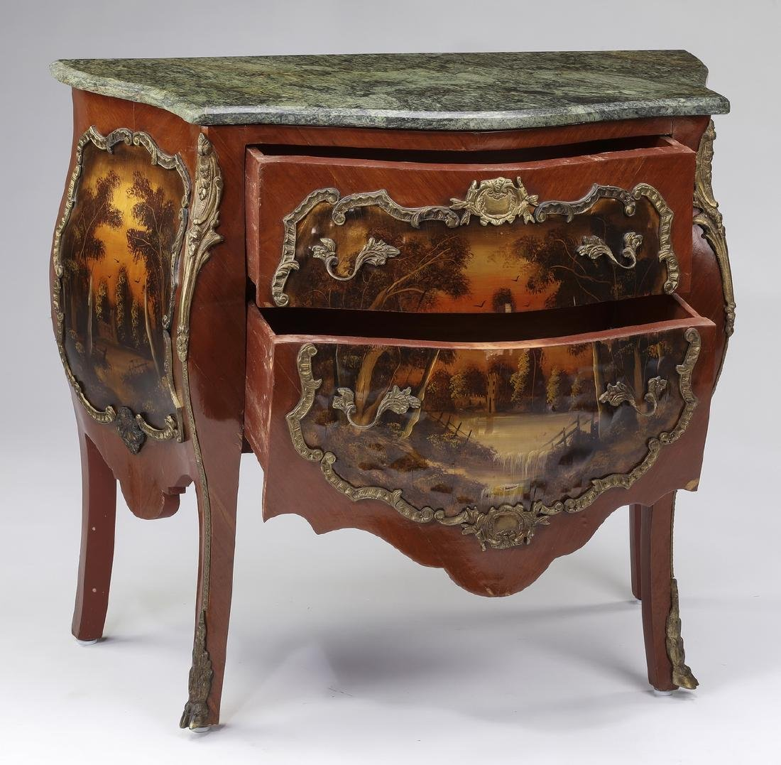 Vernis Martin style marble top commode - 2