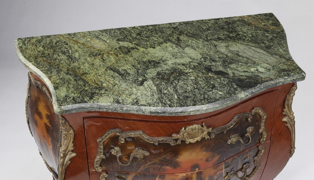 Vernis Martin style marble top commode - 3