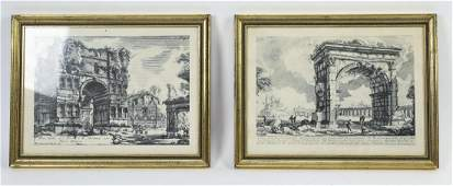 (2) Architectural Italian etchings after Piranesi