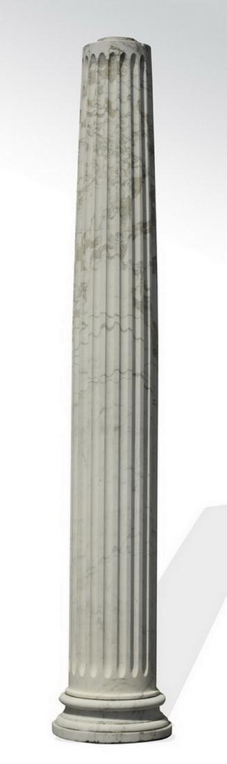 Italian white carrara marble fluted column, 12' tall - 2