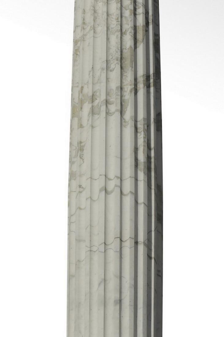Italian white carrara marble fluted column, 12' tall - 3