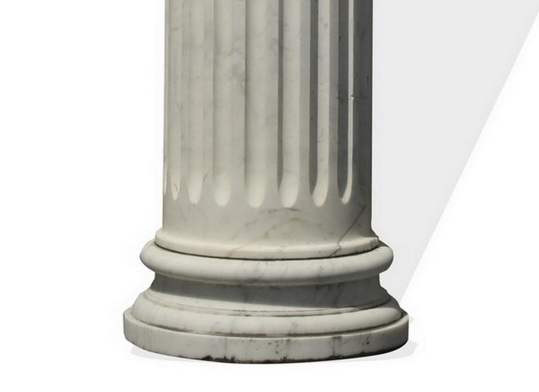 Italian white carrara marble fluted column, 12' tall - 4