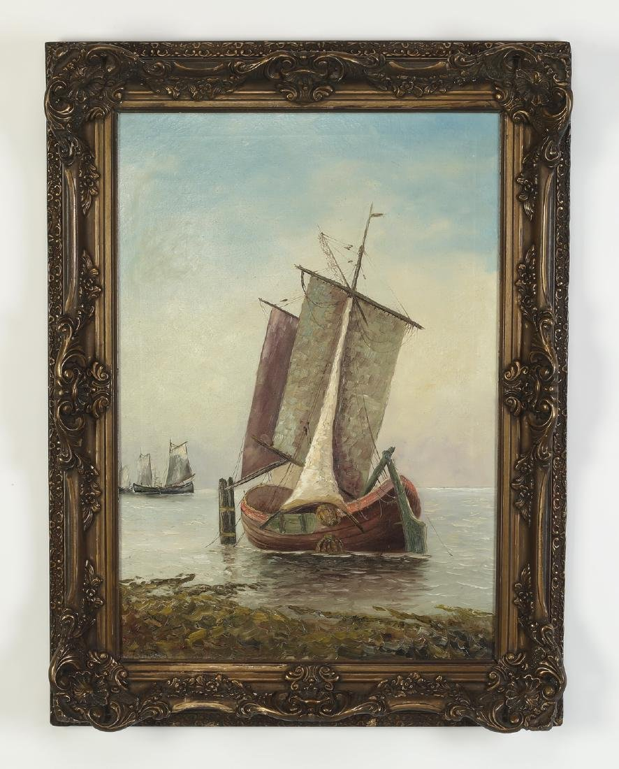 Dutch School oil on canvas of sailboats, signed