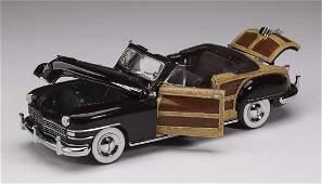 "Danbury Mint 1948 maroon Chrysler Town & Country, 3""h"
