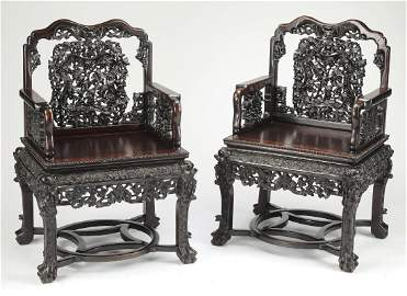 (2) Early 20th c. finely carved Chinese chairs