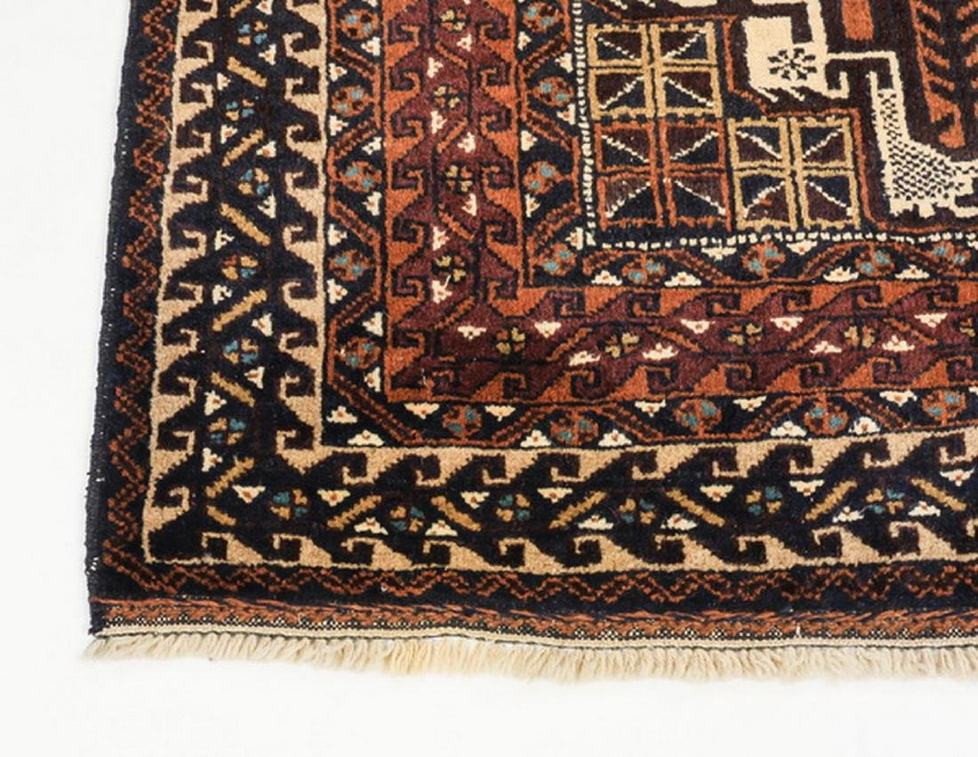 Hand knotted Baluch wool rug, 4 x 7 - 3
