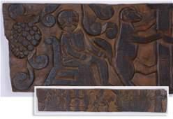 "Latin American carved figural folk art plaque, 79""l"