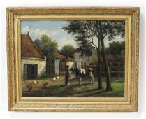 Cornelis Koppenol signed Oc of farmer in barnyard