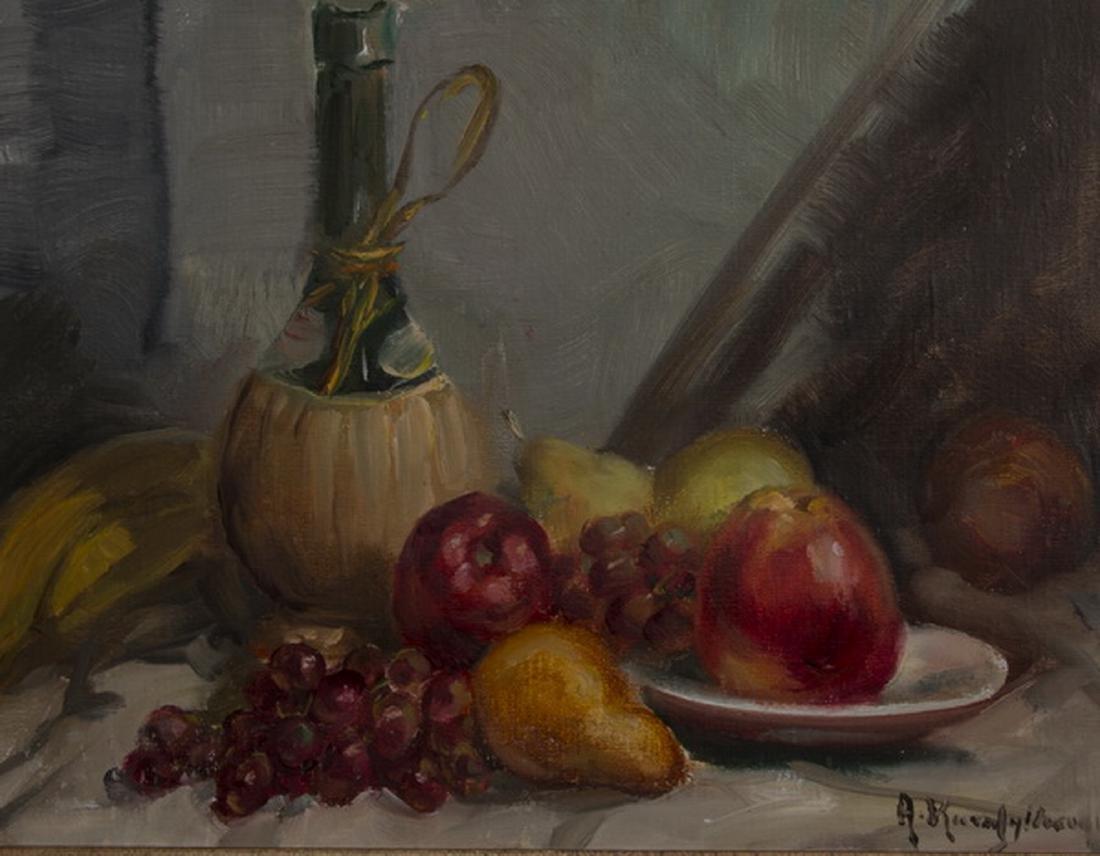 A. Karafyllakis signed O/c still life of fruit & wine - 2