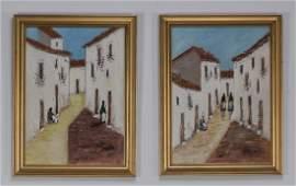 Pair O/canvasboards of Torremolinos, Spain