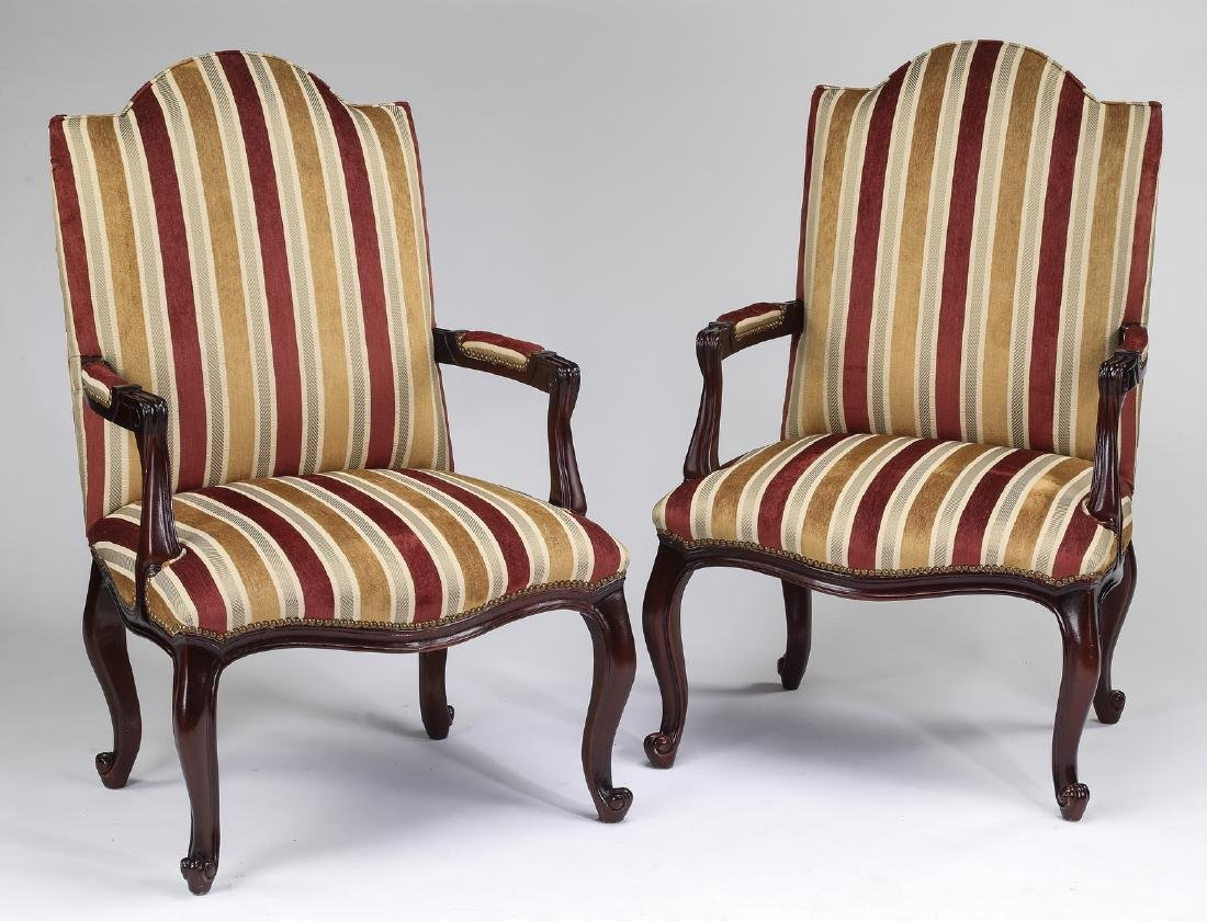 """(2) French inspired walnut fauteuils, 45""""h"""