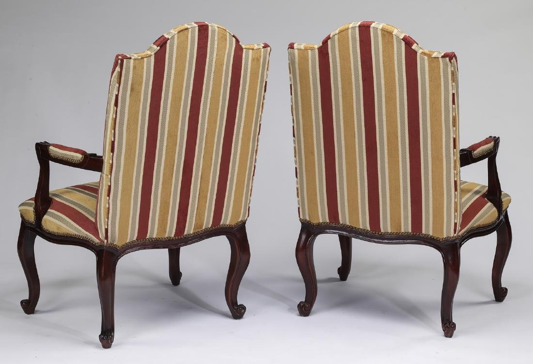 """(2) French inspired walnut fauteuils, 45""""h - 2"""