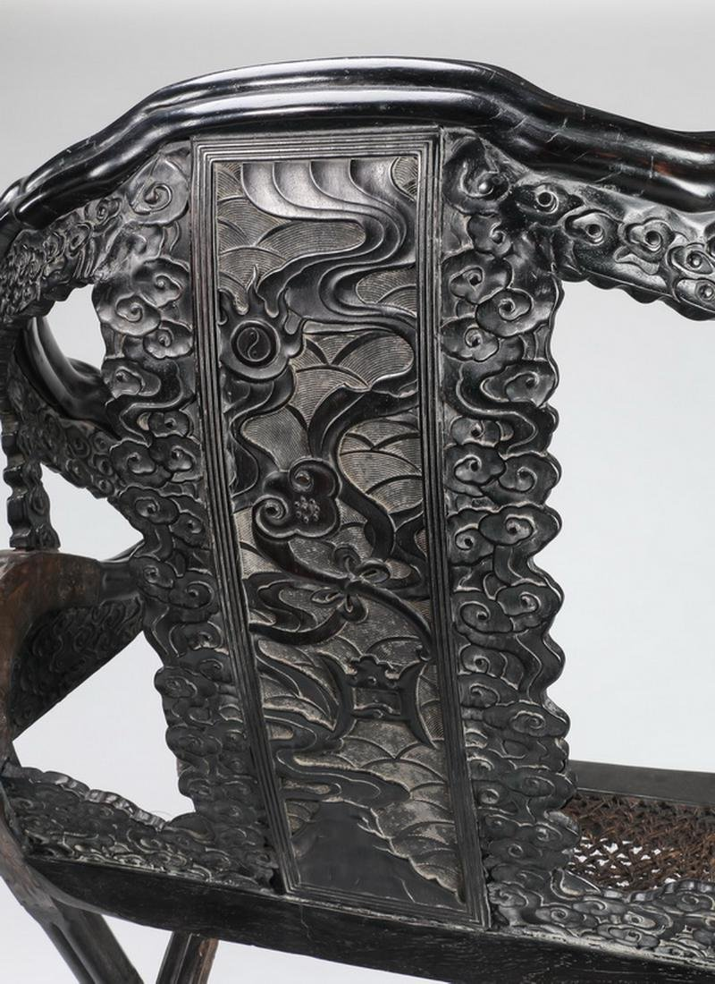 (2) Chinese carved zitan dragon and cloud chairs - 10