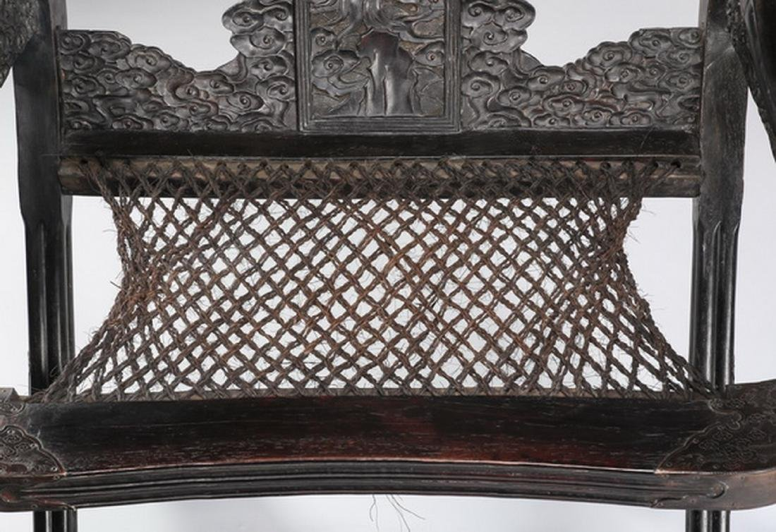 (2) Chinese carved zitan dragon and cloud chairs - 6