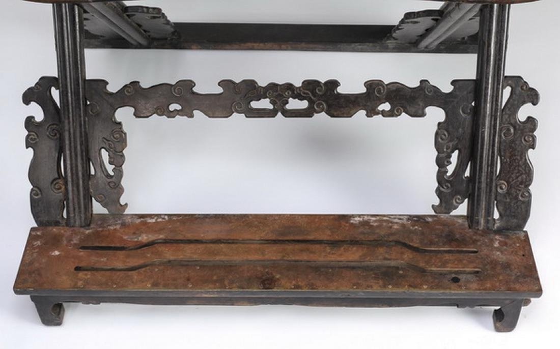 (2) Chinese carved zitan dragon and cloud chairs - 7
